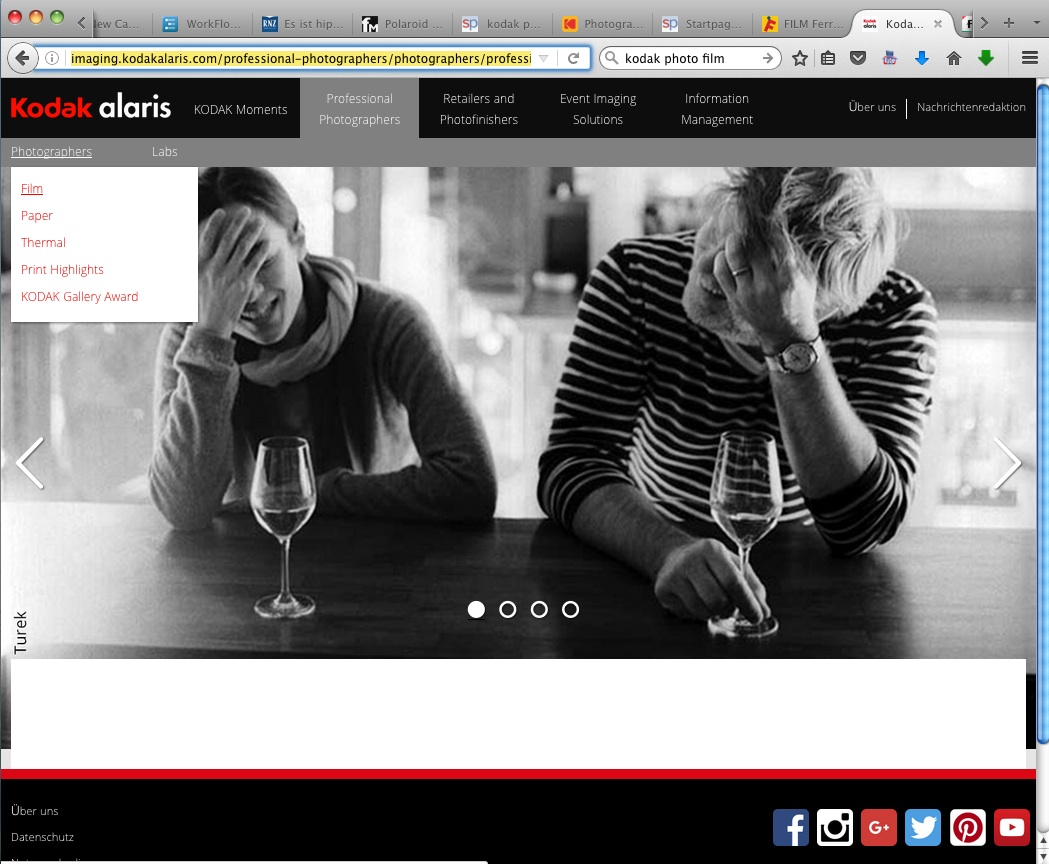 heutiger screenshot der kodak alaris website
